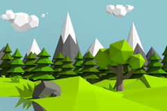 Low poly mountains landscape Stock Photography