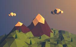 Low poly mountains landscape vector background Stock Photo