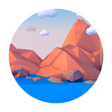Low poly mountains landscape vector background. Polygonal shapes peaks with snow on top and trees around. Sunset wallpaper. Eps10. Vector illustration Royalty Free Stock Photography