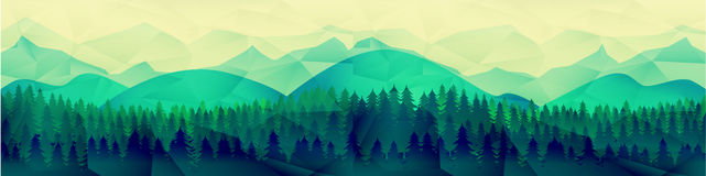 Low poly mountains landscape vector background. Polygonal shapes peaks with snow on top and trees around. Sunset wallpaper. Eps10 vector illustration stock illustration