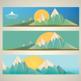 Low poly Mountains web banners Stock Image
