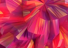 Low Poly Multi colored Reflective Background. Low Poly multi colored in red, yellow and purple Reflective Background with white light spheres Stock Photography