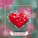 Low Poly My Heart Ribbon Flowers Bokeh Stock Photo