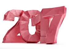 Low poly 2017 New year digits isolated on white background. 3d rendering Royalty Free Illustration