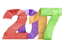 Low poly 2017 New year digits on white background. 3d rendering Royalty Free Illustration