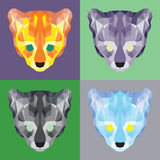 Low poly ocelots set Royalty Free Stock Photos