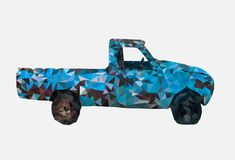 Low poly of Old rusty blue car,geometric style,cartoon,Abstract vector illustration vector illustration