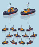 Low poly orange and black tugboat Royalty Free Stock Images