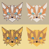 Low poly orange cat set Stock Photos