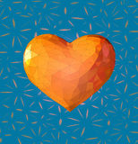 Low poly orange heart symbol with stylize BG. Low polygonal orange yellow heart symbol on turquoise blue decoration background Royalty Free Stock Photography