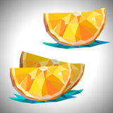 Low poly orange isolated slice vector file included. Low poly orange slice isolated for you desing vector illustration