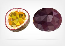Low Poly Passion Fruit or Maracuja. Vector illustration of Passion Fruit or Maracuja in low poly design Royalty Free Stock Images