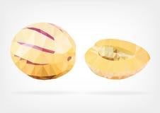 Low Poly Pepino Melon fruit Stock Image
