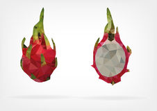 Low Poly Pitaya fruit. Vector illustration of Pitaya fruit in low poly design Royalty Free Stock Photography