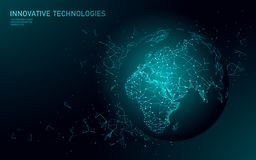 Low poly planet Earth global business connection. Global online network world map Europe Africa continent. International. Partnership communication polygonal royalty free illustration