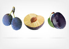 Low Poly Plum fruit. Vector illustration of Plum fruit in low poly design Stock Images