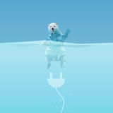 Low poly Polar bear. In the sea with plug, great for environment concept Royalty Free Stock Photography