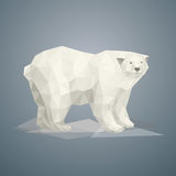 Low poly polar bear. Vector illustration in polygonal style. Beautiful animal on gray background Royalty Free Stock Images