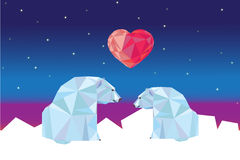 Low poly polar bears sitting on ice and looking each other. Stock Photos