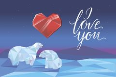 Low poly polar bears sitting on ice and looking each other. Valentines day design. Romantic card. Vector illustration. royalty free illustration