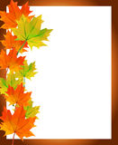 Low-poly polygon autumn maple leaves photo frame greetings Stock Images
