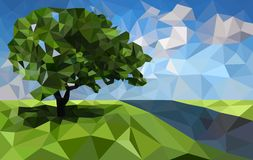 Low poly, polygonal landscape background. Vector. Polygonal landscape background with tree and river. Low poly design vector illustration Stock Photos