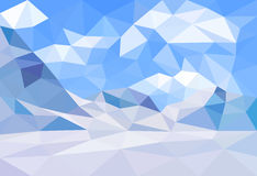 Low poly, polygonal landscape winter background. Vector. Polygonal landscape winter background with mountains. Low poly design vector illustration Stock Photography