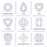 Low poly popular blueprint outline gems cuts infographics. Low poly popular blueprint outline jewelry gems cuts infographics isolated on white background, vector Royalty Free Stock Photo