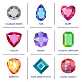 Low poly popular colored gems cuts infographics. Low poly popular colored & outline jewelry gems cuts infographics isolated on white background, vector Stock Photos