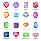 Low poly popular colored gems cuts infographics. On white background, vector illustration stock illustration
