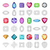 Low poly popular colored gems cuts. On white background, vector illustration stock illustration