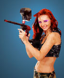 Low Poly Portrait of a Paintball girl Royalty Free Stock Photos