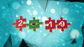 Low Poly for Puzzle to Brazil Flag for New Years 2019. Low Poly for Puzzle to The Country Flag for New Years 2019 royalty free illustration
