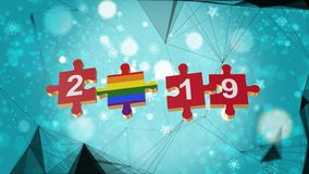 Low Poly for Puzzle to LGBT Flag for New Years 2019. Low Poly for Puzzle to The Country Flag for New Years 2019 vector illustration