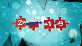 Low Poly for Puzzle to Russia Flag for New Years 2019. Low Poly for Puzzle to The Country Flag for New Years 2019 stock illustration