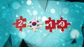 Low Poly for Puzzle to South Korea Flag for New Years 2019. Low Poly for Puzzle to The Country Flag for New Years 2019 stock illustration