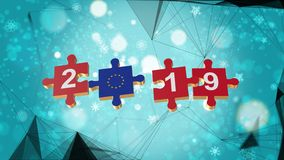 Low Poly for Puzzle to European Union Flag for New Years 2019. Low Poly for Puzzle to The Country Flag for New Years 2019 stock illustration