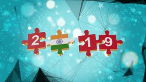 Low Poly for Puzzle to India Flag for New Years 2019. Low Poly for Puzzle to The Country Flag for New Years 2019 stock illustration