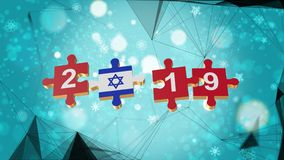 Low Poly for Puzzle to Israel Flag for New Years 2019. Low Poly for Puzzle to The Country Flag for New Years 2019 royalty free illustration