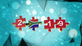 Low Poly for Puzzle to South Africa Flag for New Years 2019. Low Poly for Puzzle to The Country Flag for New Years 2019 royalty free illustration