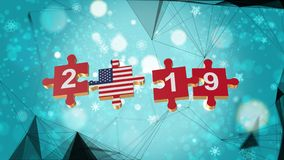 Low Poly for Puzzle to USA Flag for New Years 2019. Low Poly for Puzzle to The Country Flag for New Years 2019 royalty free illustration