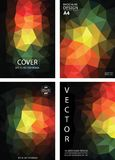 Dark background poly rainbow A4 cover page template vectors. Low poly rainbow colors modern a4 brochure design vectors. Colorful modern geometric polygonal book stock illustration