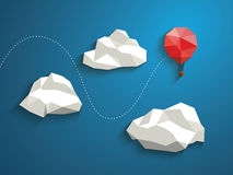 Low poly red balloon flying between polygonal. Clouds in the sky. Business concept for new projects or traveling. Eps10 vector illustration Royalty Free Stock Image