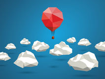 Low poly red balloon flying between polygonal. Clouds in the sky. Business concept for new projects or traveling. Eps10 vector illustration Royalty Free Stock Photos