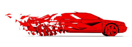 Low-poly red car Royalty Free Stock Photo