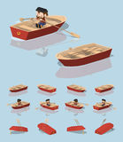 Low poly red punt boat Royalty Free Stock Photos