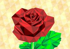 Low poly red rose. Low poly drawing of red rose - vector Stock Images