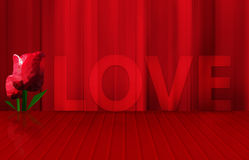 Low poly red tulips and word love on red floor stage Stock Images