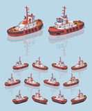 Low poly red and white tugboat Royalty Free Stock Images