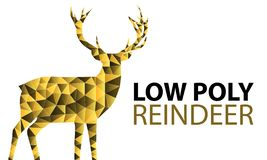 Low Poly Reindeer - Vector Illustration - Isolated On White Background royalty free illustration